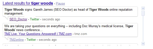 REAL TIME SEARCH RESULTS