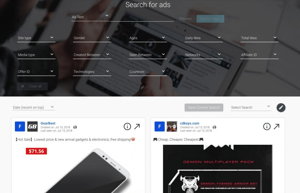 FB ad spy tool by adspy.com